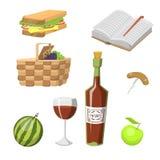 与食物放松假期容器午餐夏天膳食传染媒介例证的野餐篮子 库存图片