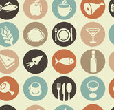与餐馆和食物图标的模式 免版税图库摄影