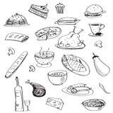 与饭食的传染媒介乱画无缝的样式 免版税图库摄影