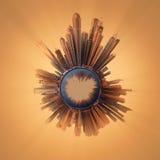 与首要的大厦和吸引力的微型地球行星在迪拜 免版税库存照片