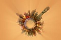 与首要的大厦和吸引力的微型地球行星在香港 免版税库存照片