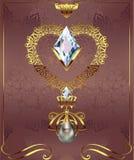 与首饰小卵石金刚石的金黄装饰心脏在与艺术装饰装饰品的花卉背景 向量例证