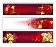 与首饰玫瑰的水平的横幅 向量例证