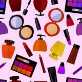 与香料厂和化妆用品的无缝的平的样式 免版税库存图片