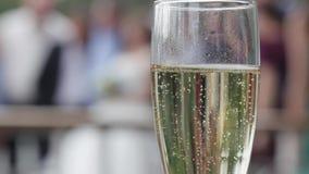 与香槟特写镜头的玻璃 影视素材