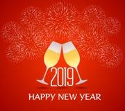 与香槟玻璃的新年好2019年 免版税库存照片