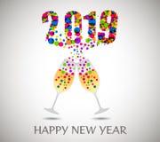 与香槟玻璃的新年好2019年 库存照片