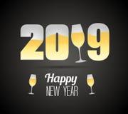 与香槟玻璃的新年好2019年 免版税图库摄影