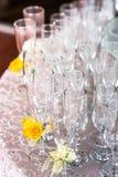 与香槟玻璃的庆祝 免版税库存照片