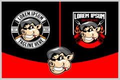 与香烟徽章或盾商标模板的肉猪 向量例证