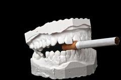 与香烟的牙齿印象白垩模型 库存图片