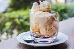 与香草冰淇淋的蓝莓碎屑 免版税库存照片