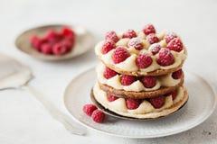 与香草奶油和莓的Millefeuille 库存图片