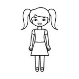 与马尾辫和裙子的俏丽的女孩剪影 图库摄影图片