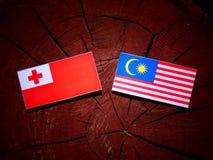 与马来西亚旗子的汤加旗子在被隔绝的树桩 皇族释放例证