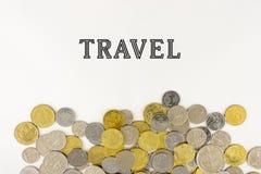 与马来西亚硬币的词旅行 免版税库存图片