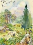 与马的农村风景 免版税图库摄影