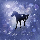 与马的圣诞节背景 图库摄影