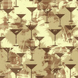 与马蒂尼鸡尾酒玻璃剪影的难看的东西无缝的样式 向量 免版税库存图片