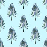 与马赛克杉树的无缝的样式 向量例证
