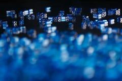 与马赛克样式的抽象蓝色背景 免版税库存图片