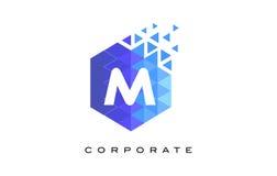 与马赛克样式的M蓝色六角信件商标设计 库存图片