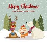与驯鹿、灰鼠和polare熊的华美的Chritmas卡片 向量例证
