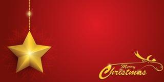 与驯鹿和星的红色圣诞卡 库存图片