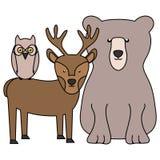 与驯鹿和猫头鹰的逗人喜爱的熊北美灰熊 库存例证