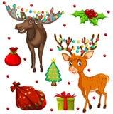 与驯鹿和礼物的圣诞节题材 免版税库存照片