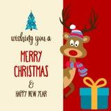 与驯鹿和礼物盒的美丽的平的设计圣诞卡片 库存例证