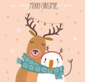 与驯鹿和雪人的滑稽的圣诞快乐卡片 免版税图库摄影