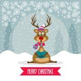与驯鹿唱歌颂歌的美丽的平的设计圣诞卡片 皇族释放例证