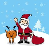与驯鹿圣诞快乐卡片的逗人喜爱的动画片圣诞老人 免版税库存图片