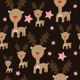 与驯鹿模式的无缝的圣诞节模式 免版税库存照片