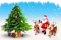 与驯鹿的圣诞老人跳舞在结构树附近 免版税库存图片