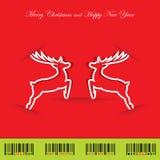 与驯鹿的圣诞节背景 免版税图库摄影