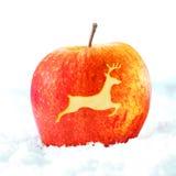 与驯鹿的圣诞节苹果 免版税库存照片