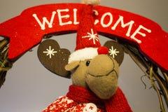 与驯鹿的圣诞节装饰与红色围巾 免版税库存图片