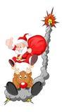 与驯鹿-圣诞节传染媒介例证的滑稽的圣诞老人 图库摄影