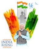 与骄傲的印地安人民的印度三色旗子背景 免版税库存照片