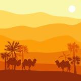 与骆驼的传染媒介风景 免版税库存图片