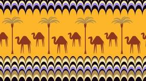 与骆驼的无缝的背景 免版税库存图片