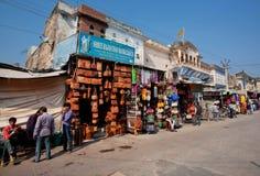 与骆驼皮包和印地安纪念品的市场 免版税库存图片