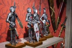 与骑士的金属形象的陈列室,马德里,西班牙2018-0 免版税库存图片