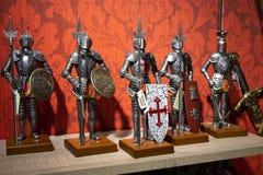 与骑士的金属形象的陈列室,马德里,西班牙2018-0 免版税库存照片