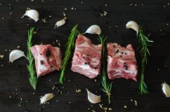 与骨头和迷迭香的猪肉生肉 免版税库存图片