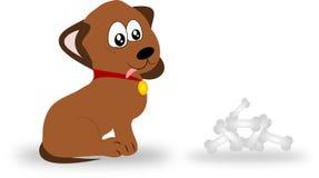 与骨头的狗 向量例证