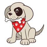 与骨头的逗人喜爱的动画片狗 免版税库存照片
