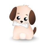 与骨头的逗人喜爱的狗在他的嘴 免版税库存图片